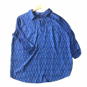Kensie mixed media blue blouse XL